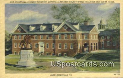 Stonewall, Jackson Monument - Charlottesville, Virginia VA Postcard