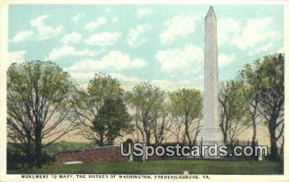 Monument to Mary the Mother of Washington - Fredericksburg, Virginia VA Postcard
