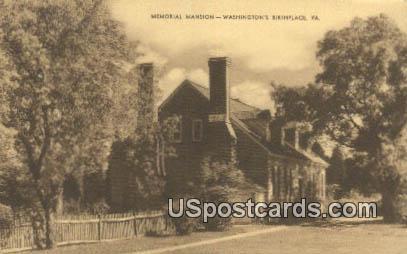 Memorial Mansion - Fredericksburg, Virginia VA Postcard