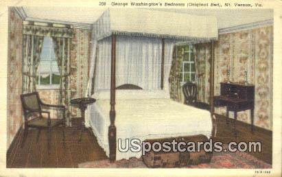 George Washington Bedroom - Mt Vernon, Virginia VA Postcard