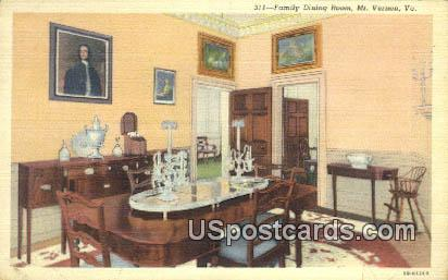 Family Dining Room - Mt Vernon, Virginia VA Postcard