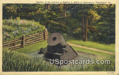 Replica of the Dictator, Battery 5 - Petersburg, Virginia VA Postcard