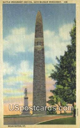 Col Seth Warner Monument - Bennington, Virginia VA Postcard