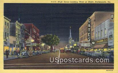 High Street - Portsmouth, Virginia VA Postcard