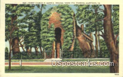 Oldest Church Tower Still Standing - Jamestown, Virginia VA Postcard
