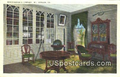 Washington's Library - Mt Vernon, Virginia VA Postcard