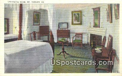 Lafayette Room - Mt Vernon, Virginia VA Postcard