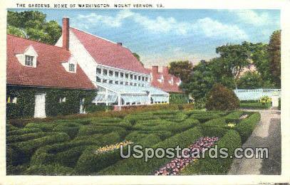 Gardens, Home of Washington - Mt Vernon, Virginia VA Postcard