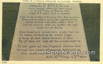 Tomb of a Female Stranger - Alexandria, Virginia VA Postcard