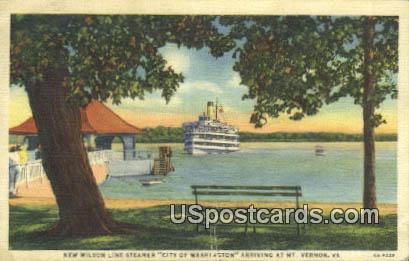 New Wilson Line Steamer - Mt Vernon, Virginia VA Postcard