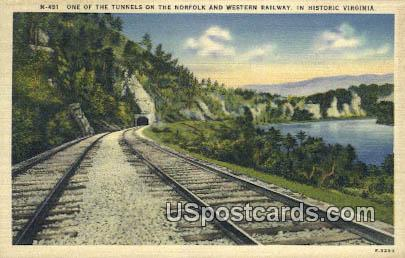 Tunnels, Western Railway - Historic Virginia Postcards, Virginia VA Postcard