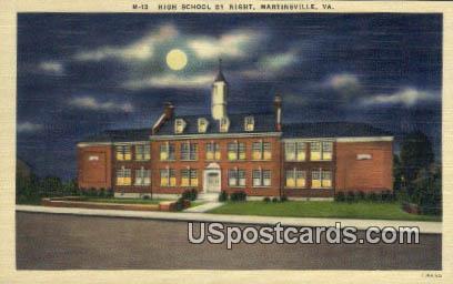 High School - Martinsville, Virginia VA Postcard