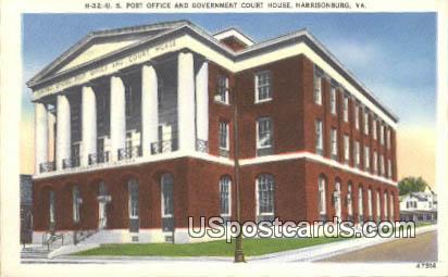 US Post Office - Harrisonburg, Virginia VA Postcard