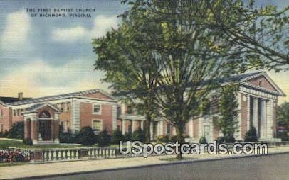 First Baptist Church - Richmond, Virginia VA Postcard