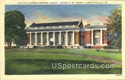 Alderman Memorial Library - Charlottesville, Virginia VA Postcard