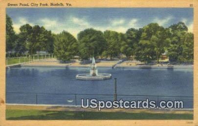 Swan Pond, City Park - Norfolk, Virginia VA Postcard