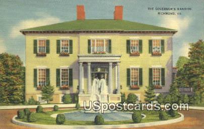 Governor's Mansion - Richmond, Virginia VA Postcard