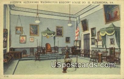 Alexandria Washington Masonic Lodge NO 22 - Virginia VA Postcard