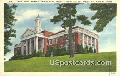 Wiley Hall, Administration - Emory, Virginia VA Postcard