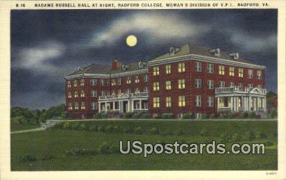 Madame Russell Hall, Radford College - Virginia VA Postcard