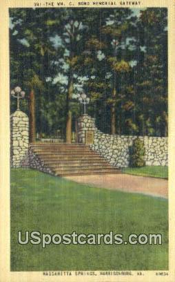 WM C Bond Memorial Gateway - Harrisonburg, Virginia VA Postcard