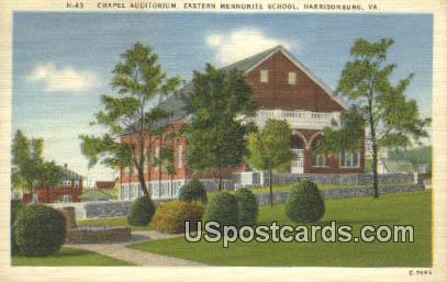 Chapel Auditorium, Eastern Mennonite School - Harrisonburg, Virginia VA Postcard