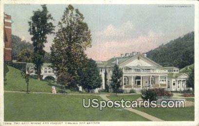 Bath House & Viaduct - Hot Springs, Virginia VA Postcard