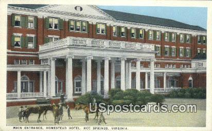 Main Entrance, Homestead Hotel - Hot Springs, Virginia VA Postcard