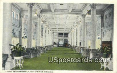 Lobby, The Homestead - Hot Springs, Virginia VA Postcard
