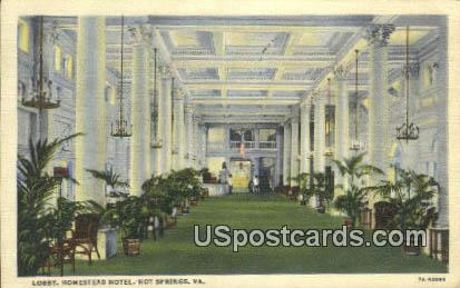 Lobby, Homestead Hotel - Hot Springs, Virginia VA Postcard