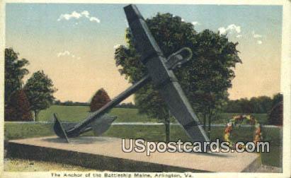 Anchor, Battleship Maine - Arlington, Virginia VA Postcard