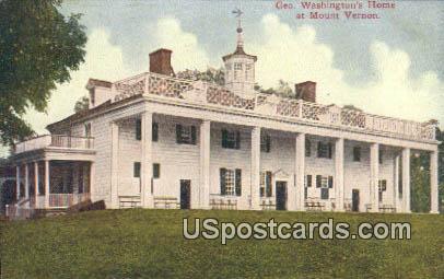 Geo Washington's Home - Mt Vernon, Virginia VA Postcard