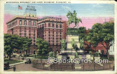 Washington Monument & Hotel Richmond - Virginia VA Postcard