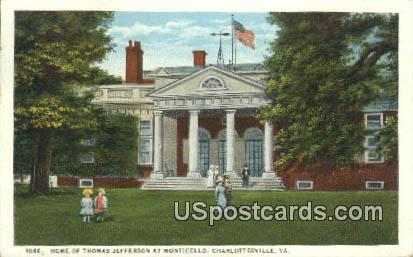 Home of Thomas Jefferson - Charlottesville, Virginia VA Postcard
