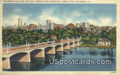 Mayo Bridge, James River - Richmond, Virginia VA Postcard