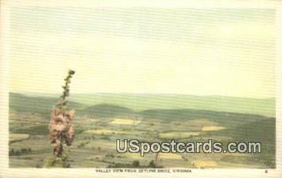Valley - Skyline Drive, Virginia VA Postcard