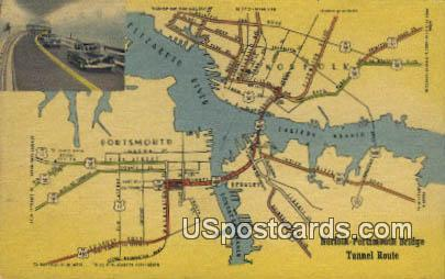 Norfold Portsmouth Bridge Tunnel Route - Norfolk, Virginia VA Postcard