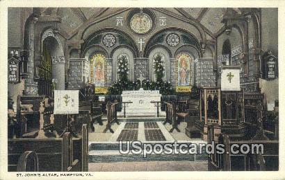 St John's Altar - Hampton, Virginia VA Postcard