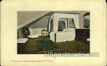 Bedroom of Martha Washington - Mount Vernon, Virginia VA Postcard