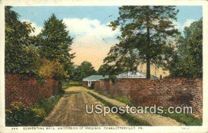 Serpentine Wall, University of Virginia - Charlottesville Postcard