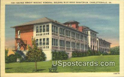 George Wright Masonic Memorial Building - Charlottesville, Virginia VA Postcard