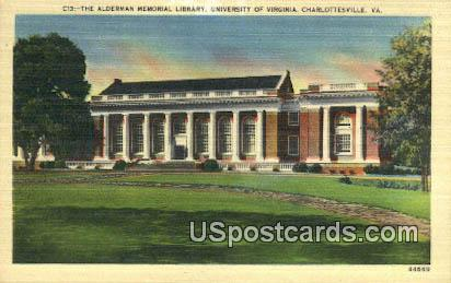 Alderman Memorial Library, University of Virginia - Charlottesville Postcard