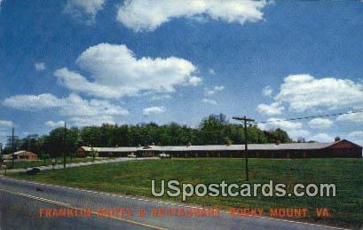 Franklin Motel & Restaurant - Rocky Mount, Virginia VA Postcard