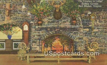 Fireplace in Lodge, Endless Caverns - New Market, Virginia VA Postcard