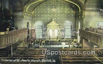 St Paul's Church - Norfolk, Virginia VA Postcard