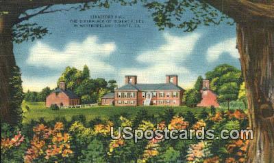 Stratford Hall, Birthplace of Robert E Lee 1807 - Westmoreland County, Virginia VA Postcard
