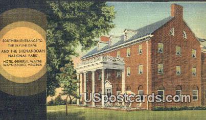 Hotel General Wayne - Waynesboro, Virginia VA Postcard