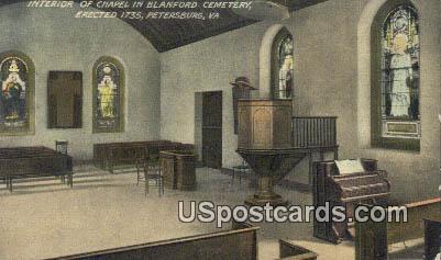 Chapel, Blanford Cemetery - Petersburg, Virginia VA Postcard