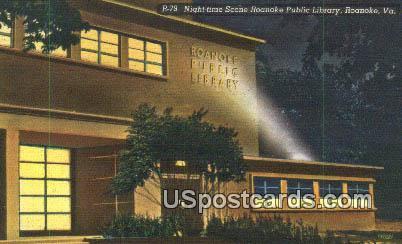 Roanoak Public Library - Roanoke, Virginia VA Postcard