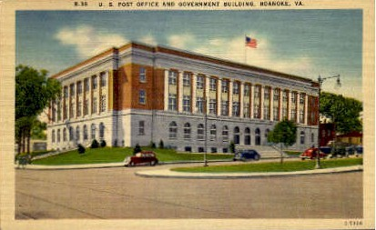 U. S. Post Office  - Roanoke, Virginia VA Postcard